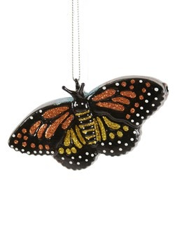 Glittery Butterfly Glass Christmas Ornament