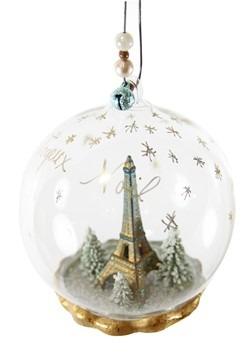 Joyeux Noel Eiffel Tower Globe Glass Ornament