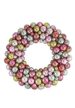Multi Pastel Colored Christmas Ball Wreath