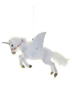 Winged White Fur Unicorn Christmas Decor