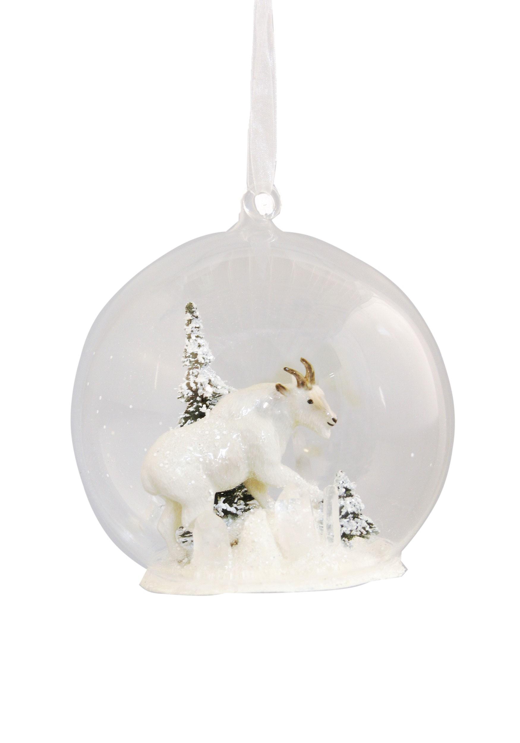 Goat Christmas Ornament.Winter Mountain Goat Glass Globe Christmas Ornament