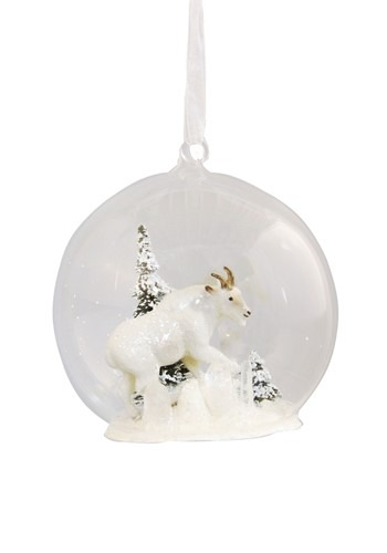 Winter Mountain Goat Glass Globe Christmas Ornament