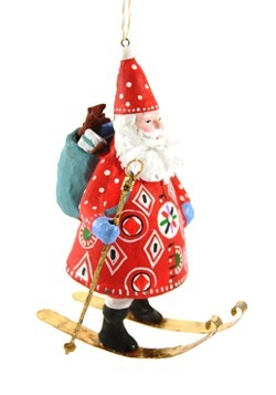 Woodland Father Christmas Skiing Ornament