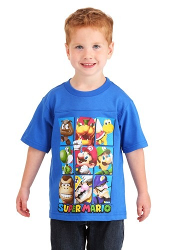 Boys Super Mario Group Shot Blue T-Shirt