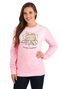 Juniors Pusheen Purrfect Weekend Pink Long Sleeve