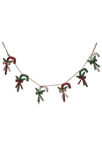 Rustic Metal Red White Green Candy Cane Garland