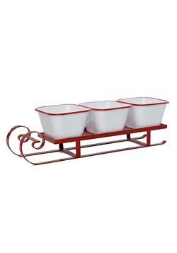 Enamel Red/White 3-Serving Dish W/Sleigh Christmas