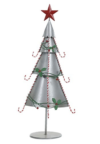 "22"" Galvanized Christmas Tree W/Candy Cane Trim"