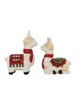 Ceramic Christmas Holly Llama Salt and Pepper Shakers