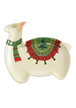 Ceramic Holly Llama Christmas Platter