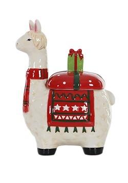 Ceramic Holly Llama Christmas Cookie Jar