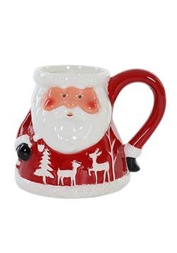 Red and White Ceramic Santa Christmas Mug