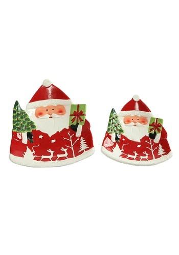 Set of 2 Ceramic Santa Christmas Platter Set