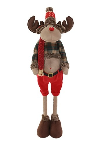 "47"" Plush Woodsy Moose Christmas Decor w/ Telescop"