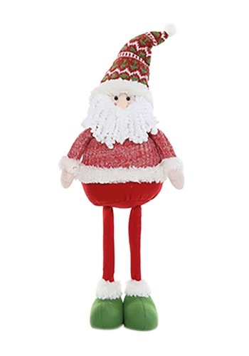 "29"" Plush Festive Santa Christmas Decor w/ Telescoping Legs"
