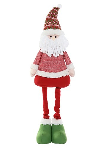 "45"" Plush Festive Santa Christmas Decor w/ Telescoping Legs"
