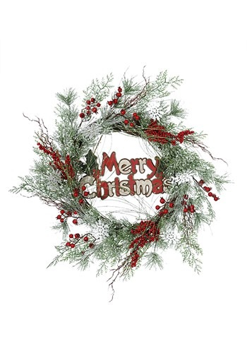 Merry Christmas 24 Snowflake & Pine Wreath