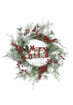 "Snowflake Merry Christmas Pine 24"" Wreath"