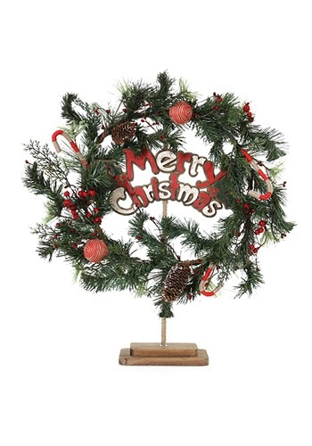 Rustic Merry Christmas 20 Inch Wreath & Stand