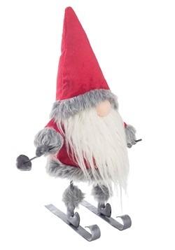 Red Gnome On Skis Christmas Decor