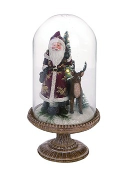 Resin Light Up Father Christmas Cloche Decor
