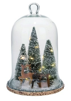 Glass Light Up Reindeer with Tree Cloche Christmas Decor