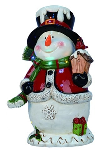 19 Ceramic Light Up Musical Snowman Christmas Decoration