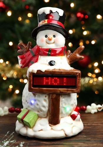 Light Up Musical Snowman with Sign Christmas Decor