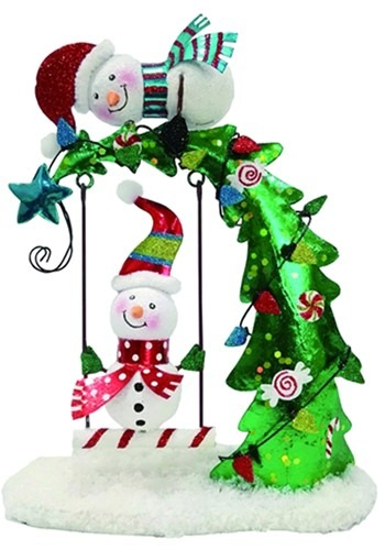 Snowman Swing Christmas Tree Decor Metal/Wood
