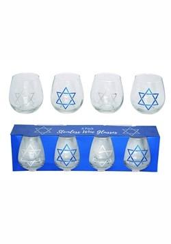 16 oz Glass Hanukkah Wine Glass Set