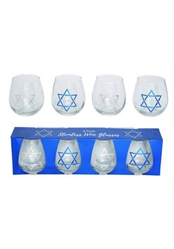 Glass Hanukkah Wine Glass Set