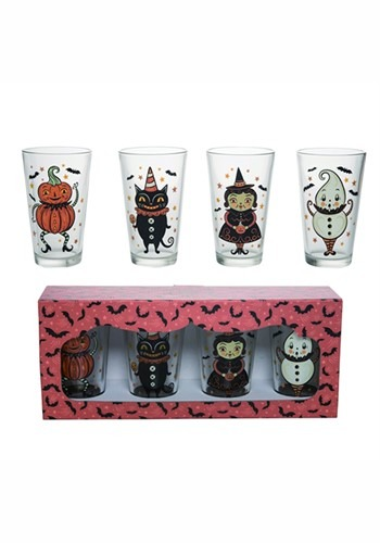 Glass Vintage Halloween 16oz Tumblers Set of 4
