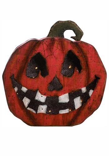 Light Up Wood Jack-O-Lantern Face Pumpkin Halloween Decor