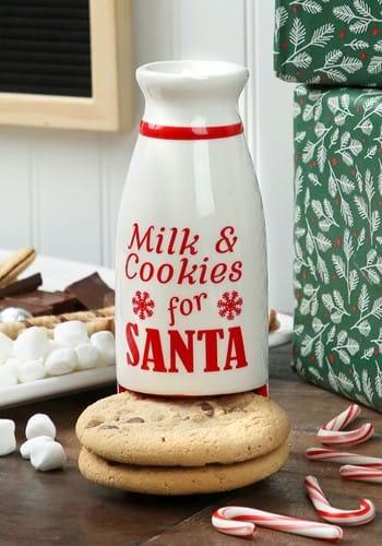 Ceramic Santas Milk & Cookies Milk Bottle