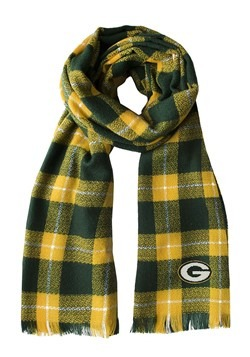NFL Green Bay Packers Green and Gold Plaid Blanket Scarf