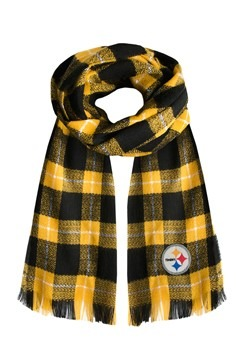 NFL Pittsburgh Steelers Black and Gold Plaid Blanket Scarf