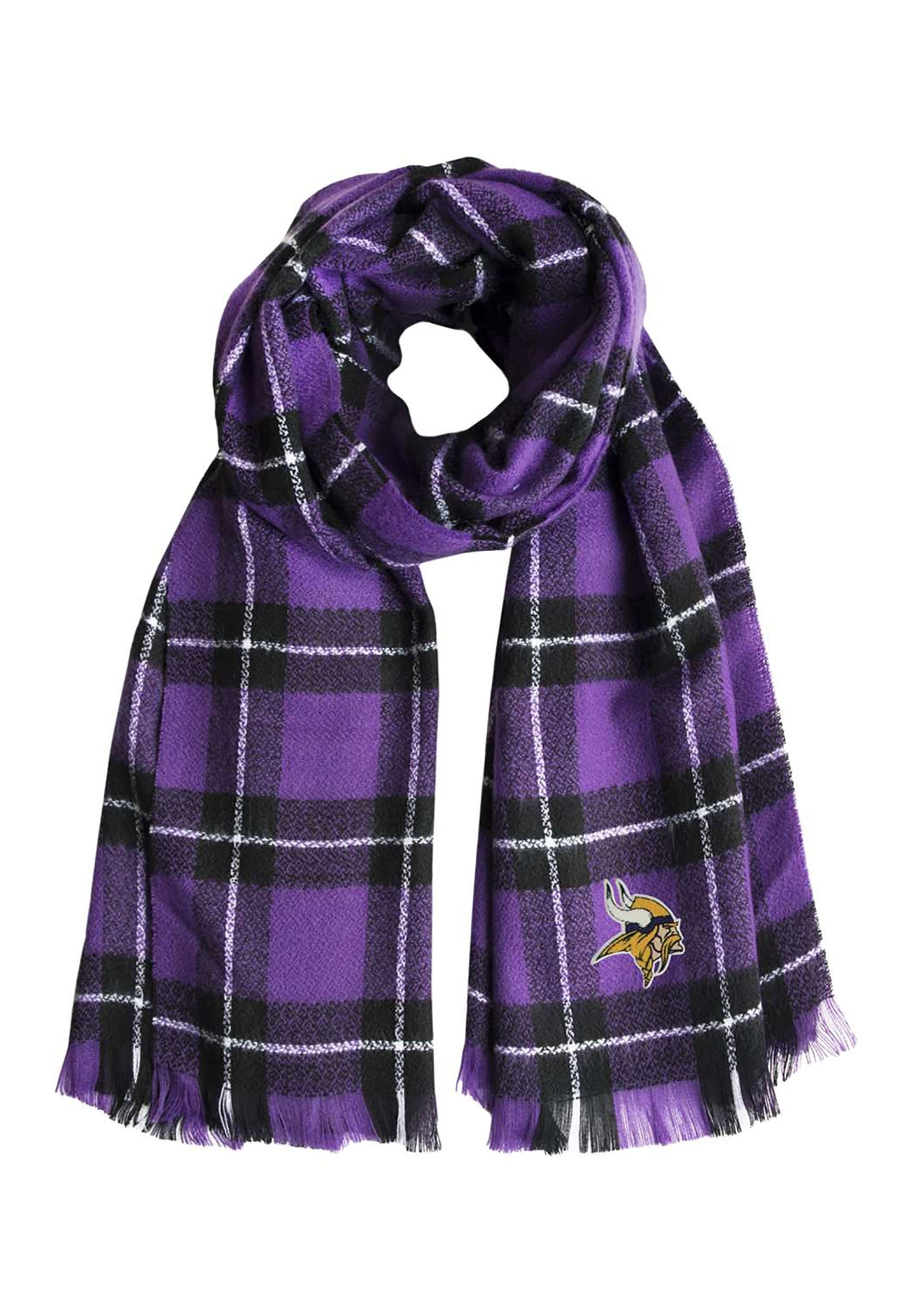 Minnesota Vikings Nfl Purple And Black Plaid Blanket Scarf