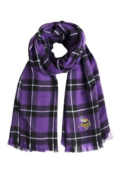 Minnesota Vikings NFL Purple and Black Plaid Blanket Scarf