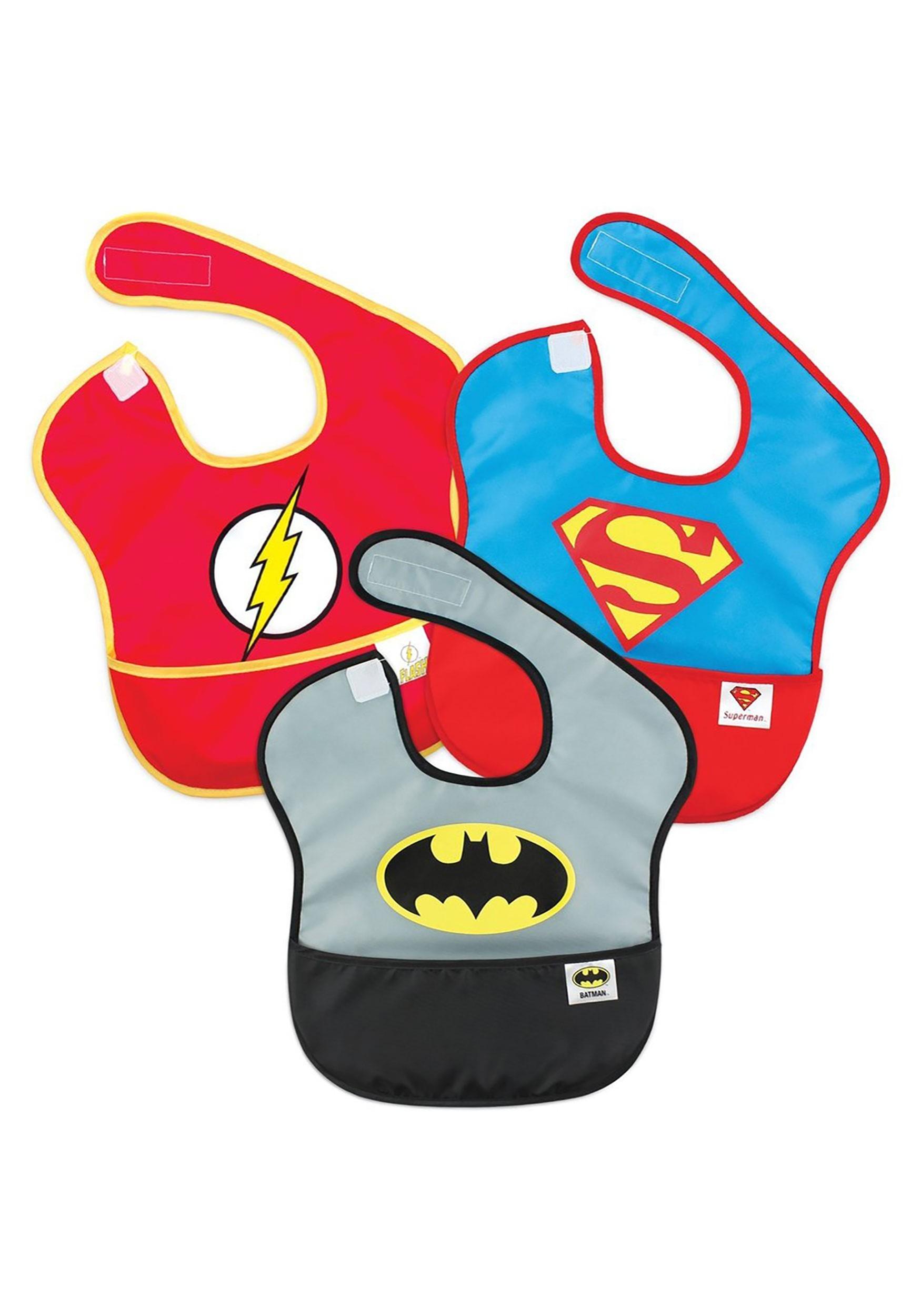 The Justice League SuperBib 3 Pack- Batman, Superman, The Flash (6-24 months)