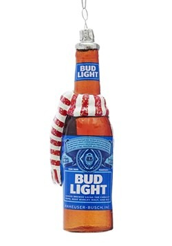 "5"" Glass Bud Light Beer Bottle w/ Scarf Ornament"