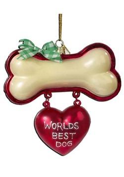 Noble Gems World's Best Dog Glass Ornament