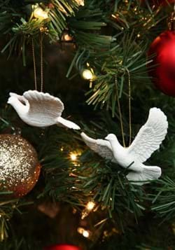 Friendship Doves Resin Ornament 2pc Set