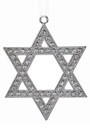 Silver Metal Star of David Ornament