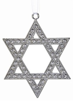 Silver Metal Star of David Ornament