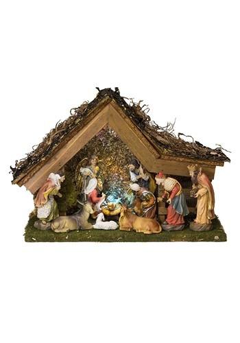 Nativity Set Wooden Stable & 10 Figures w/ LED Light & Music