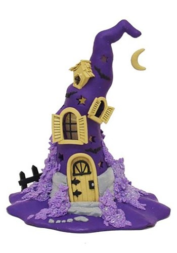 Claydough Halloween Purple LED Witch Hat Tablepiece Decor