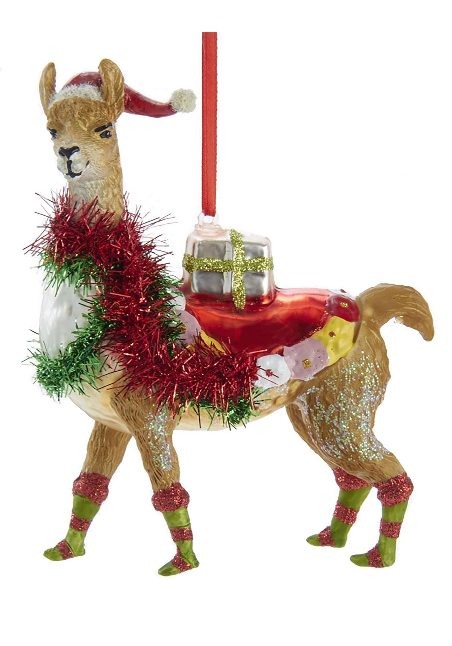Christmas Llama.5 Glass Christmas Llama Ornament