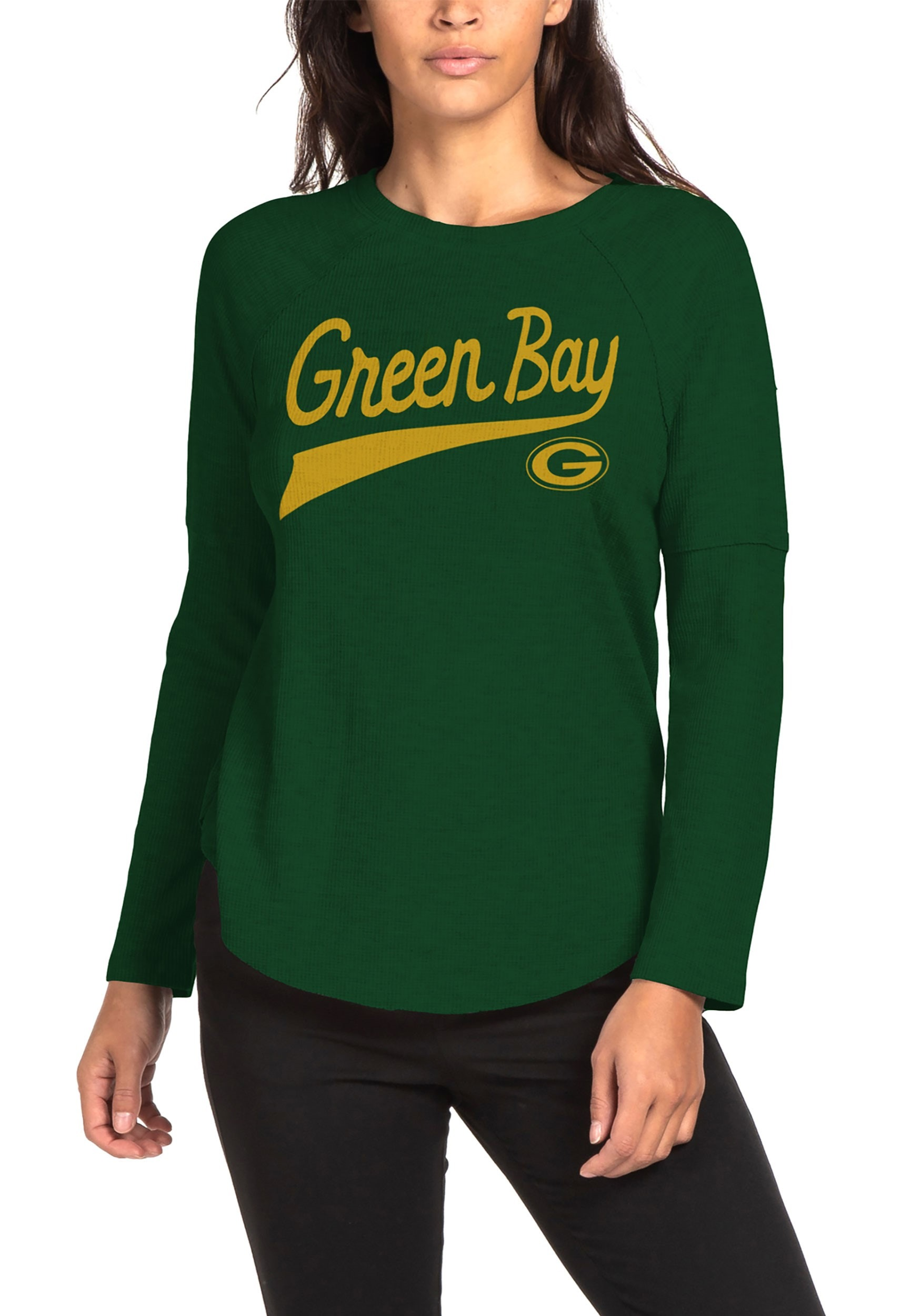 744f1018 Green Bay Packers Womens Hunter Green Super Soft Thermal