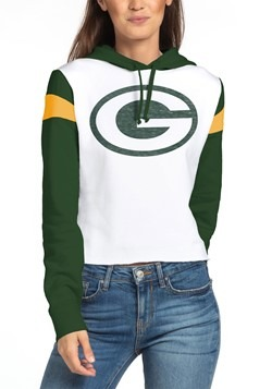 Green Bay Packers Womens Cropped Fleece Hoodie