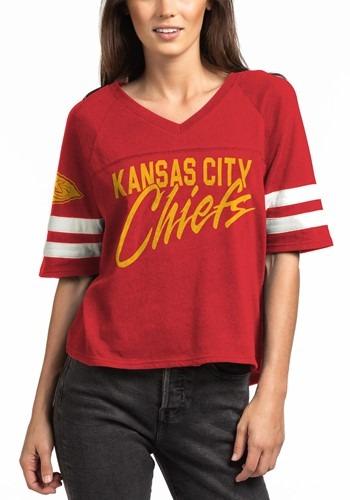 Kansas City Chiefs Womens V-Neck Red Football Tee